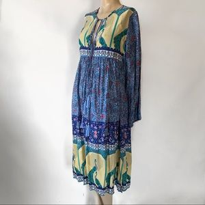 Floral Peacock Print Boho Long Sleeve Dress